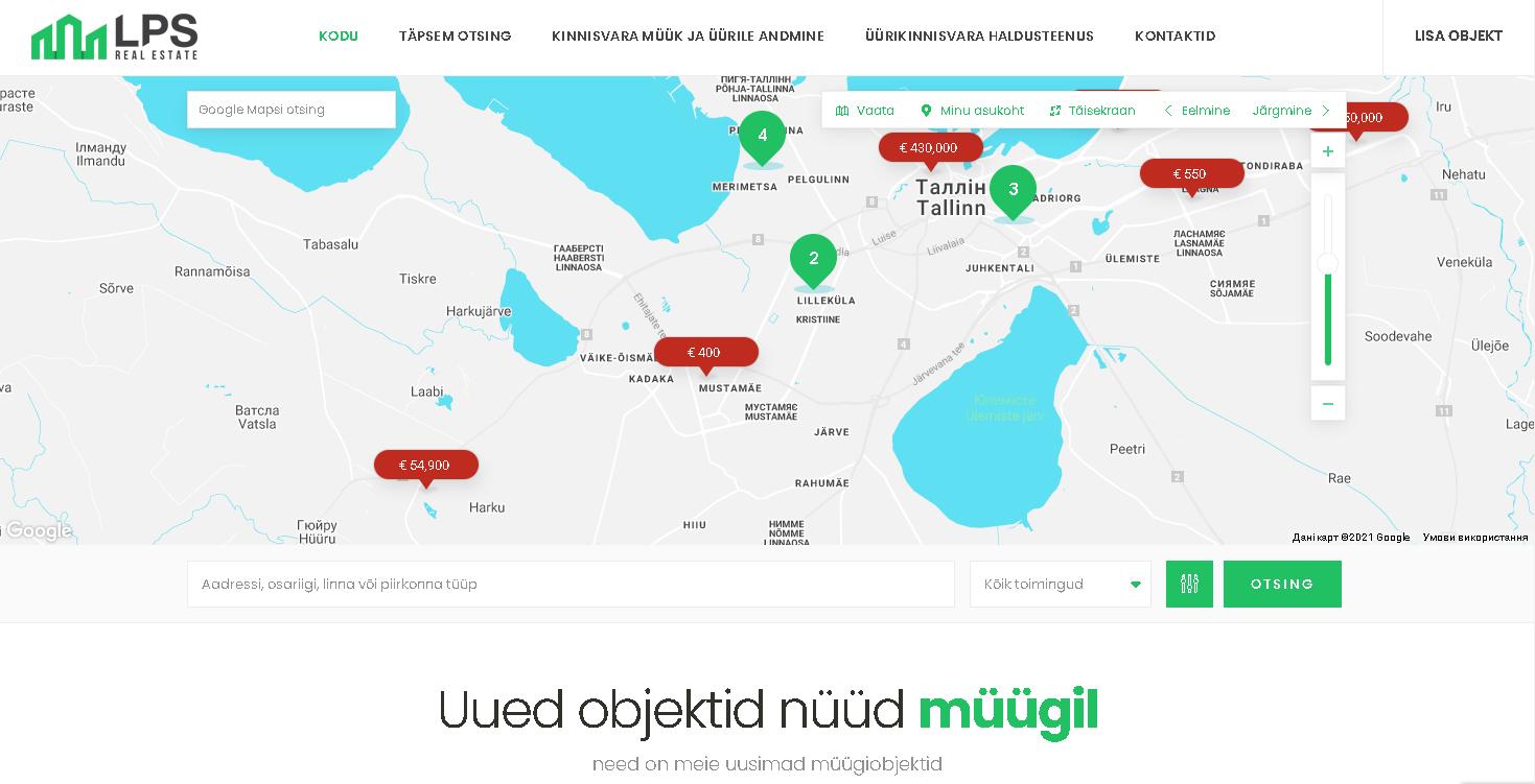 Сайт эстонской компании недвижимости